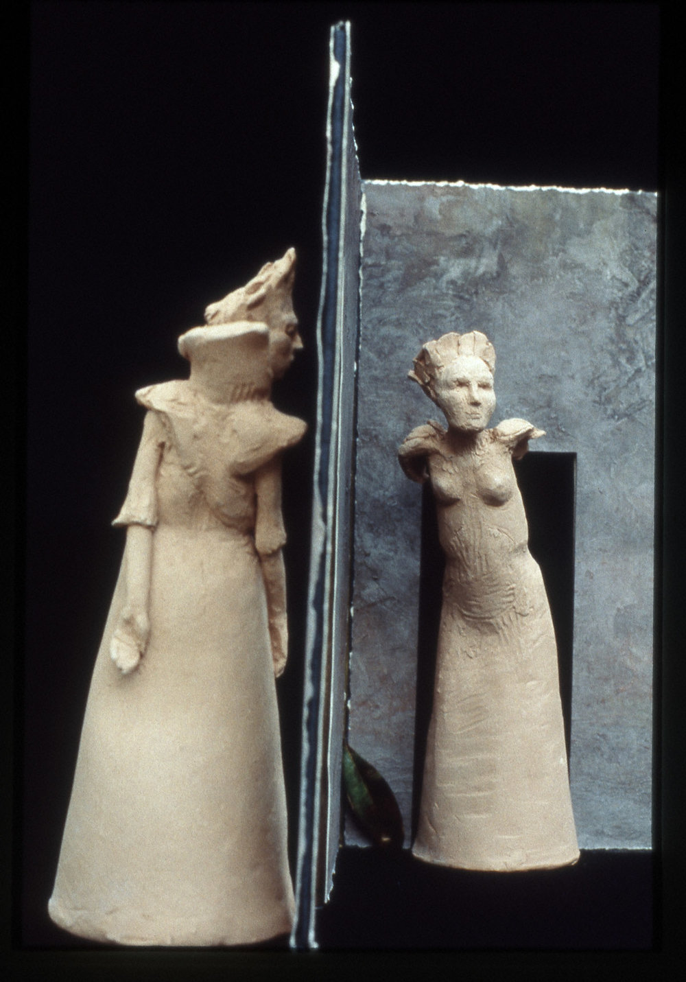 """Open Doors, Open Windows"" mixed medium terra cotta, 13""H x 12"" W x 10""W, 1996"