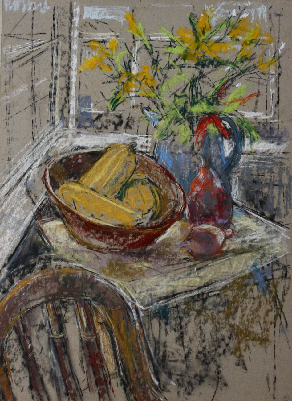 """Still Life in Nomadia Cottage"", mixed medium, 20""H x 15""W, 2016"