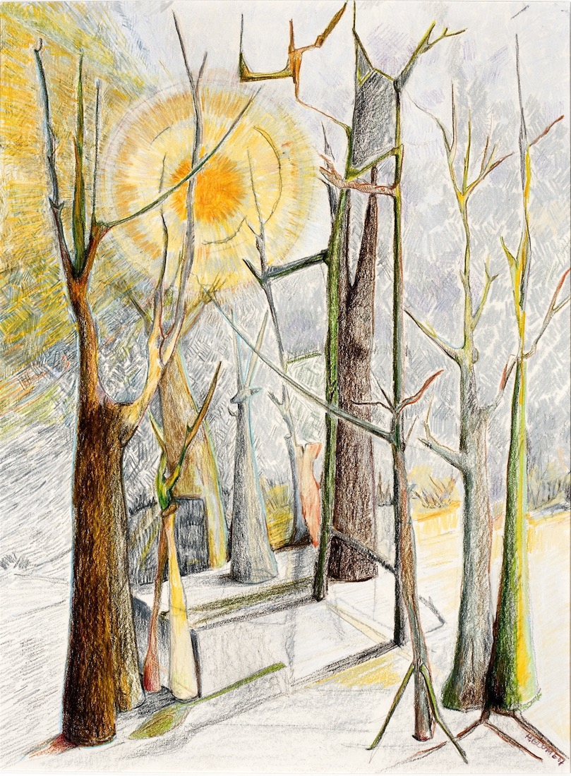"""Treescape 1"", prisma color on bristol, 18""H x 14""W, 2009"