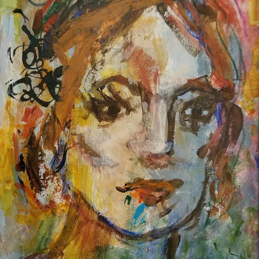 """Helena"", acrylic on paper, 16""H x 13""W, 2017"