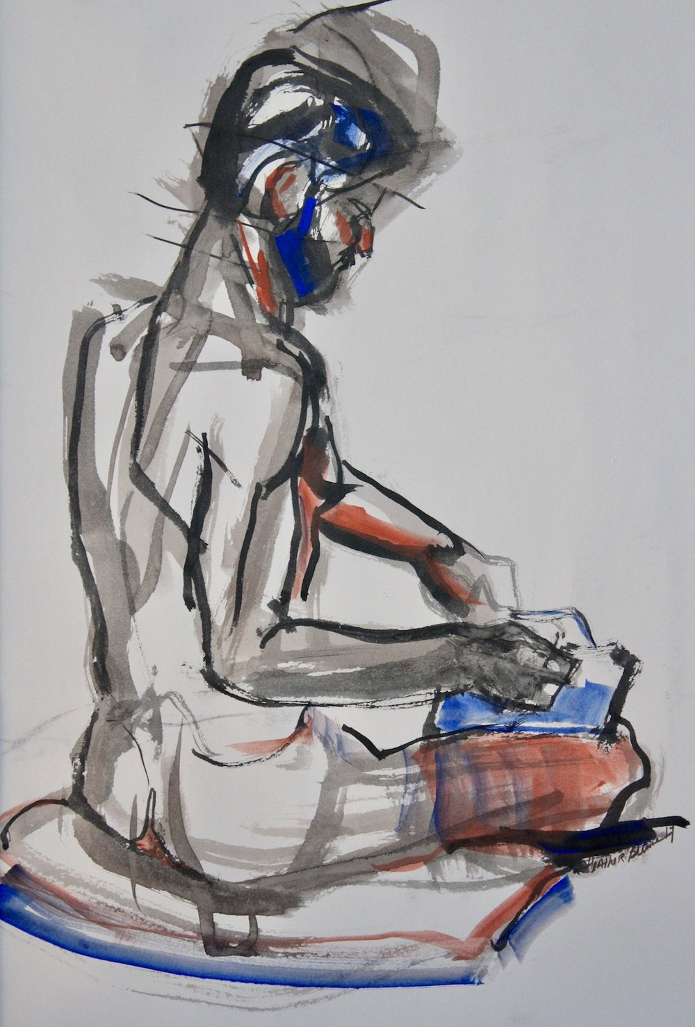"""The Reader"", gouache on rag paper, ""18""H x16""W, 17"