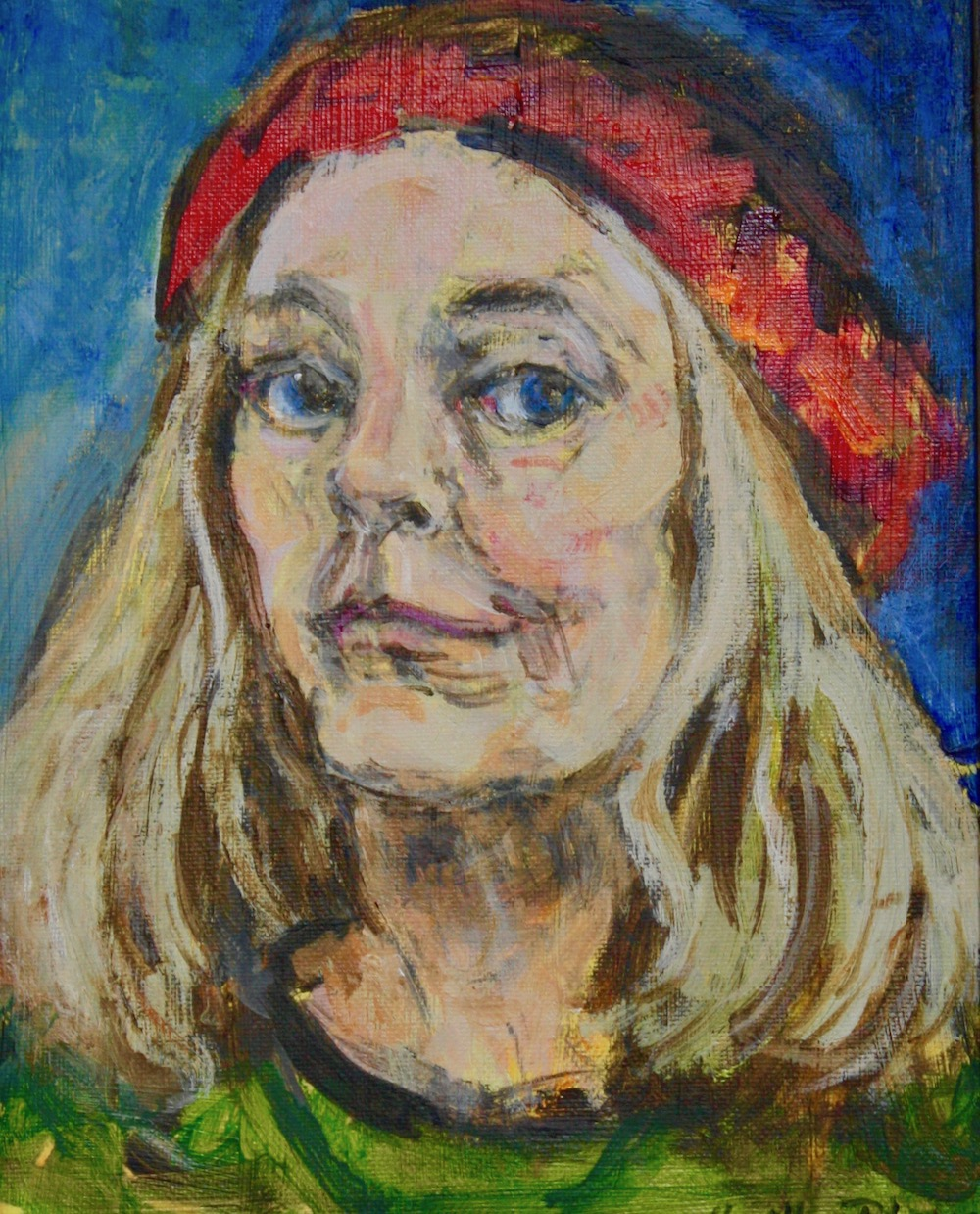 """Red Beret"", oil on canvas, 10""H x 8""W, 2016"