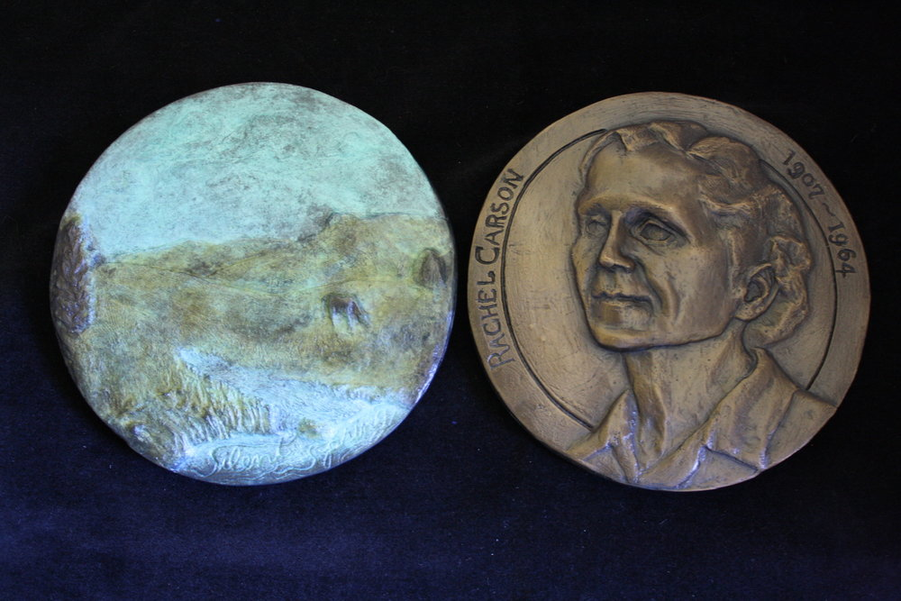 """Rachel Carson, Silent Spring"", (obverse and reverse) bronze, 5.5"" diameter x .25""D, ed. 2/ 11 , 2017"
