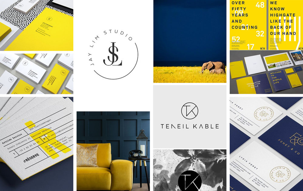 business consultant navy and yellow moodboard