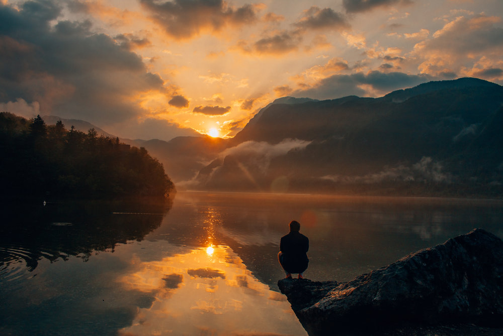 Sunset Lake Bohinj Slovenia