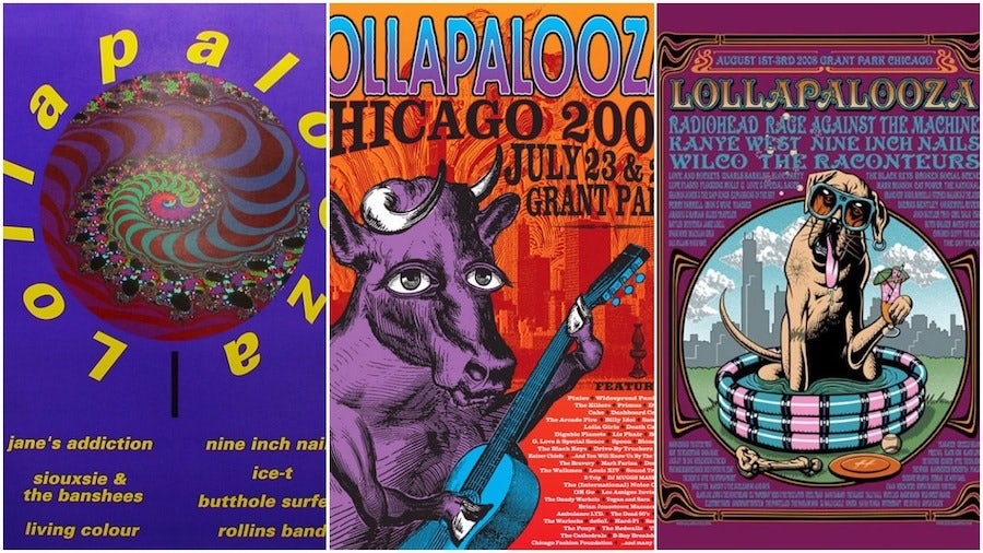 The development of the Lollapalooza festival posters (1991, 2004, 2005). Starting as a goodbye tour for the band Jane's Addiction it soon became a full blown festival running from 1991-1997 and then revived in 2004.