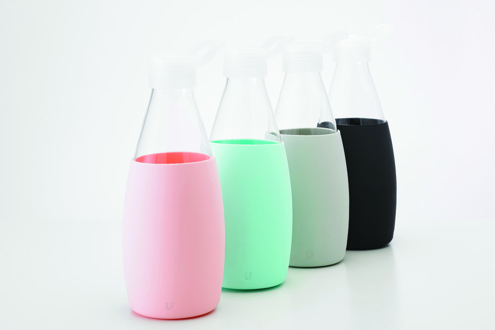Sus    tainable, Eco-Safe Glass W    ater Bottle   Starting at $14.99 Colors: Pink, Light Blue, Light Grey, Black