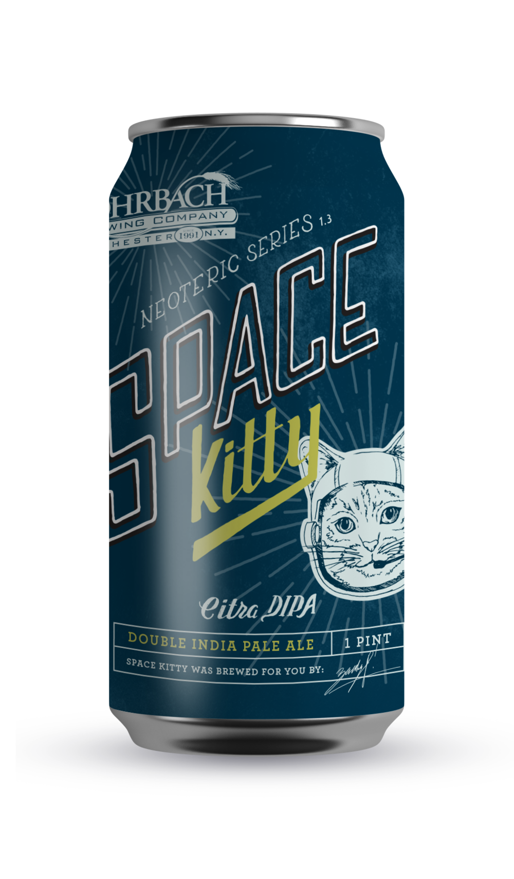SPACE KITTY  This American Double IPA features a trio of rare hops, high in alpha acids and juicy oils, that mimic theWest Coast style we love so dearly. Do not age Space Kitty and please drink fresh.  ABV 8.4% | IBU 96