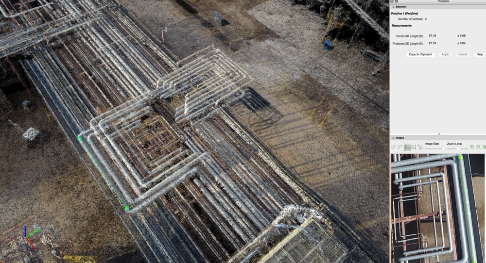 The Pointcloud models allow users to measure their assets, thus allowing for fast reference and to confirm design or planning with confidence.
