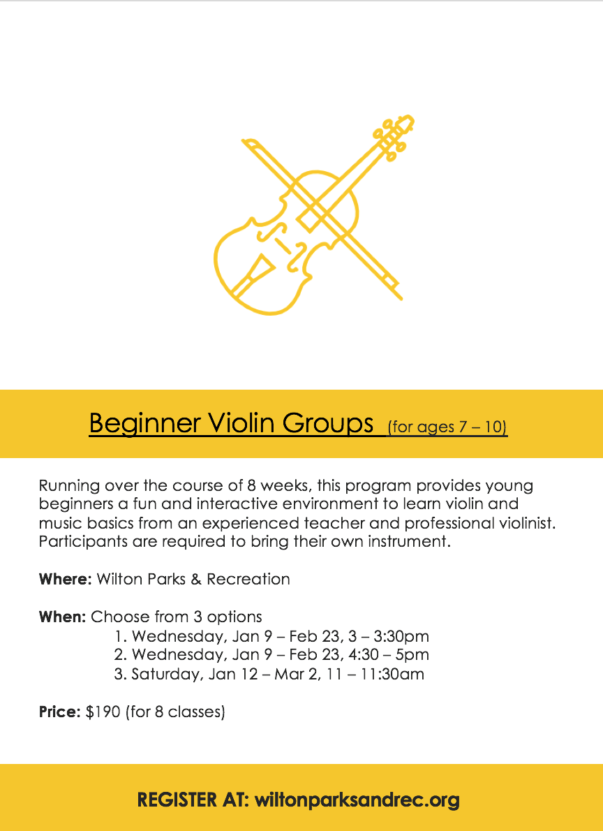 Beginner Violin Program at Wilton Parks and Recreation