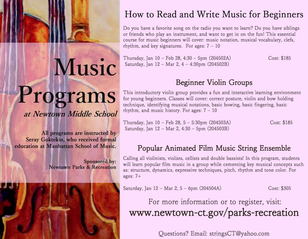 Music Programs at Newtown Parks and Recreation
