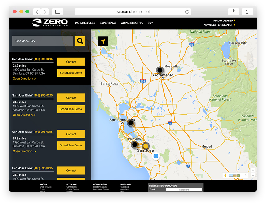 Dealer LocatorRedesign - The old dealer locator was hard to use and not responsive. I re-created it to be fully responsive with a full-width map and easy-to-use search bar.