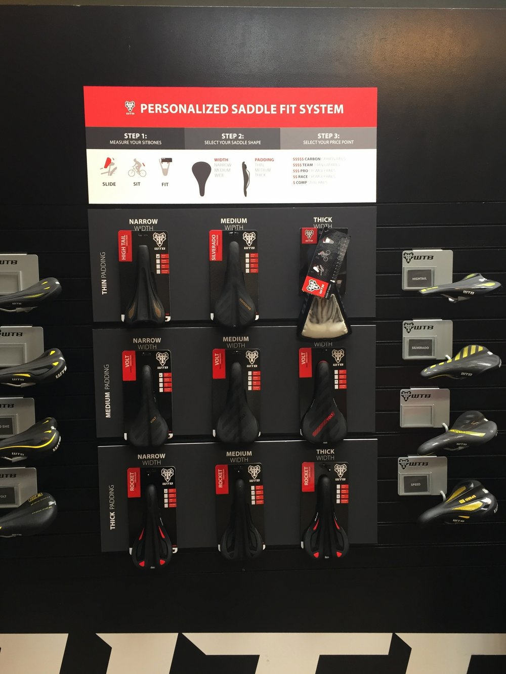 Saddle Display - WTB wanted to easily display their saddles in an organized way so their consumer could quickly determine types of saddle padding and widths.