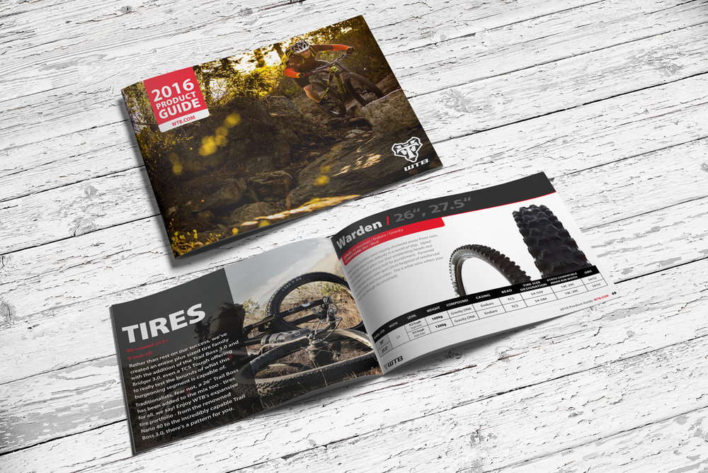 Catalog Design and Production - For the past three years, I've been designing and producing the WTB product catalogs, which up usually upwards of 100 pages. From layout design and image editing, to production and editing, they hired me to oversee the project from start to finish.