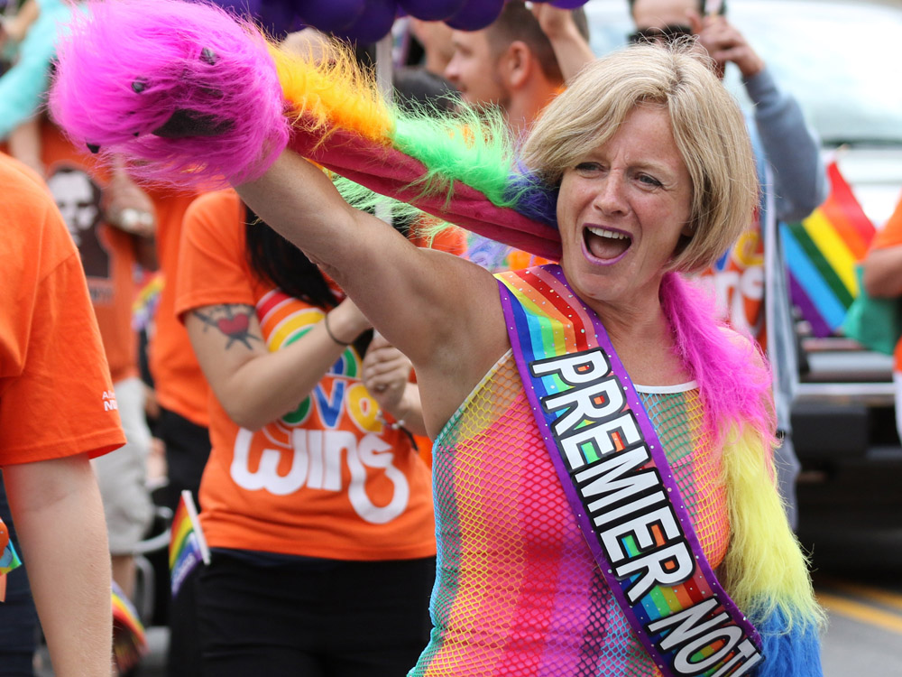 - 6. Alberta Premier Rachel Notley was living her BEST life at Edmonton Pride Parade on June 9. Busting moves, petting puppies and delivering inspiring speeches, while dressed in rainbow colours, doused in glitter and smiling ear to ear!