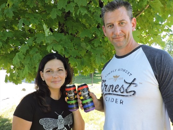 "- 10. Toronto's Ernest Cider Co. debuted rainbow stripes on their original dry cider for Pride Month! ""We are connected to the Pride community through our friends and family and now have a way to help show our support."" Who doesn't love a"
