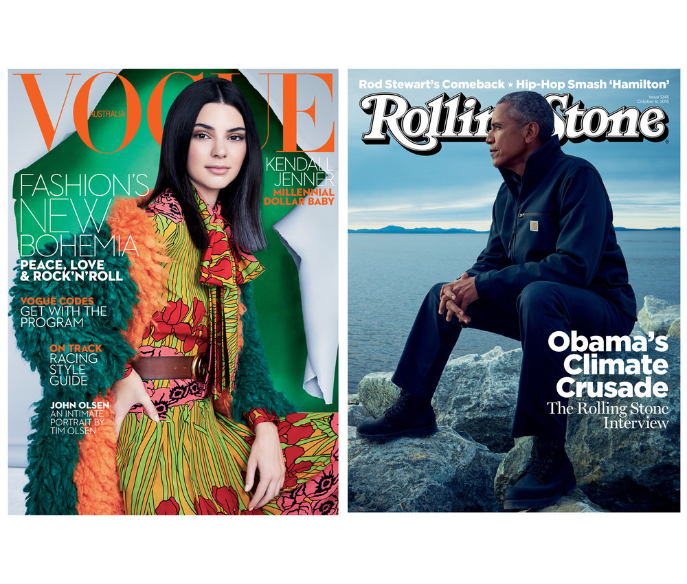Patrick Demarchelier, Vogue Australia, October 2016   Mark Seliger, Rolling Stone, October 2015