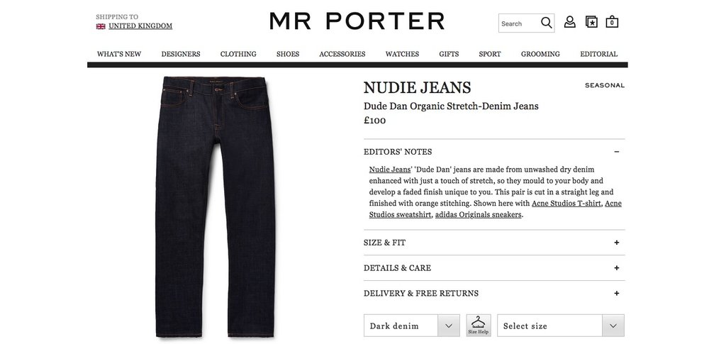 Mr Porter. Wry, assured product copy -