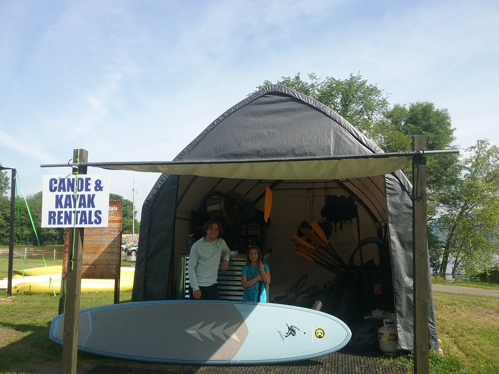 Rental Center - Pick up boats and camping gear at the west side of the campground near the Spillway. Bikes are available at the Camp Store.