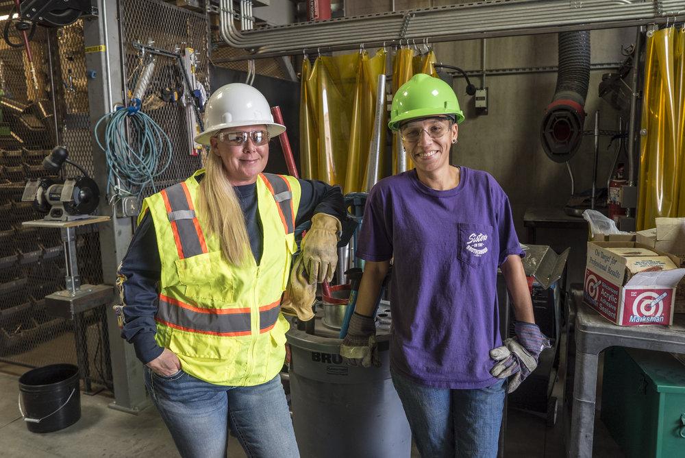 Union electricians Michelle Abell (organizer) and Nicole Perez (apprentice) of IBEW Local 401 in Reno/Sparks.