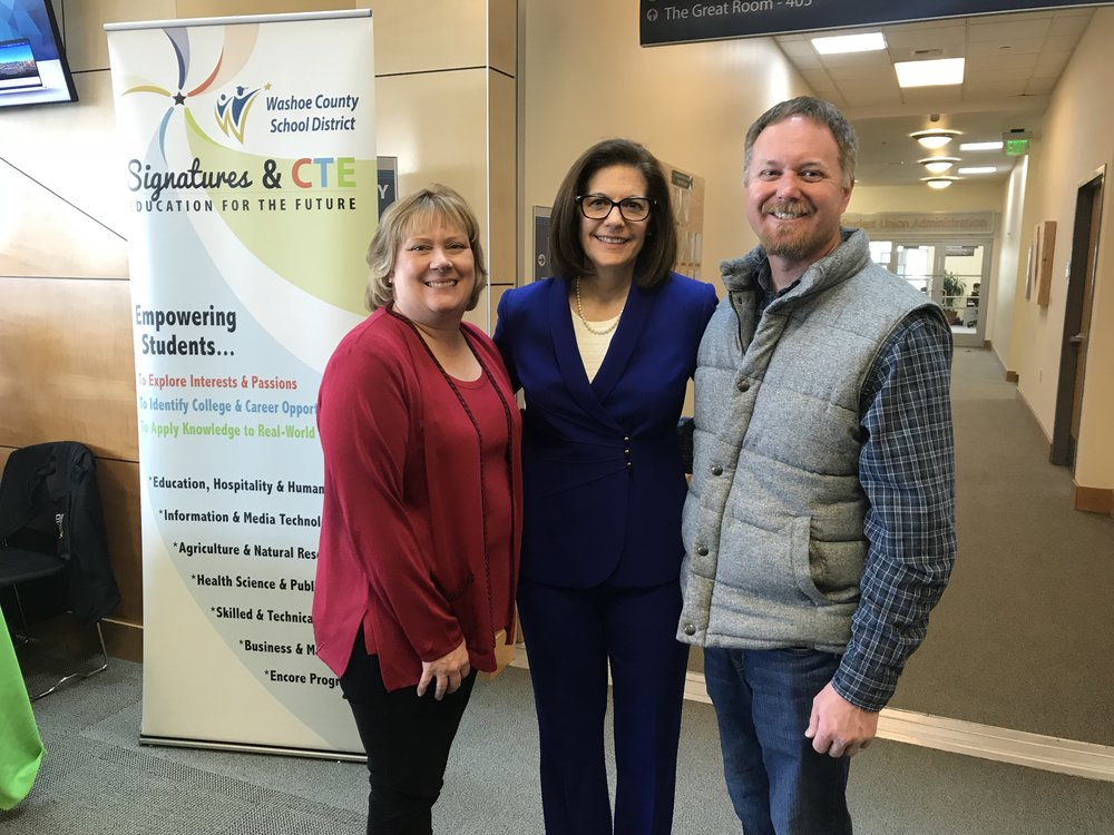 U.S. Senator Catherine Cortez Masto stops by the Northern Nevada building trades booth to chat with Dian VanderWell and Rob Benner at Chart the Course.