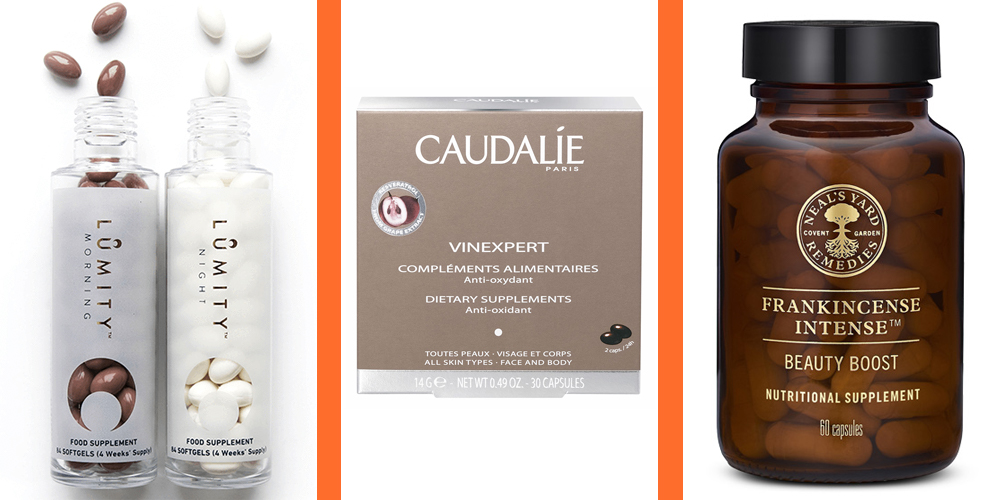 Lumity Natural Anti-Ageing Supplements, £85    Caudalie Vinexpert Anti Ageing Supplements, £16    Neal's Yard Frankincense Intense™ Beauty Boost Supplement, £20