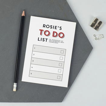 personalised to do list - £11.25, not on the high street