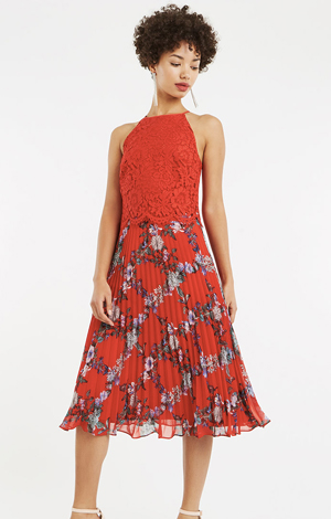 Bloom lace pleat midi dress, £80, Oasis