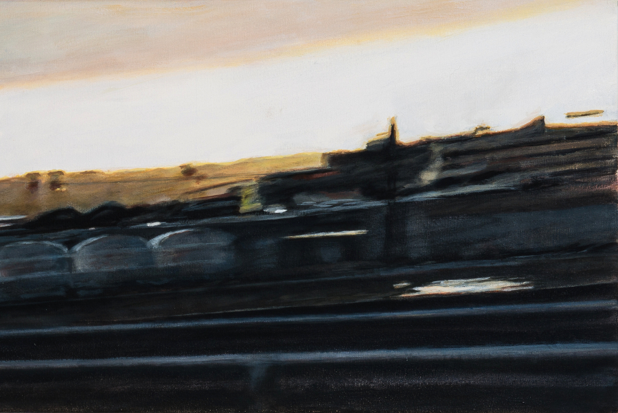 "The Sun Sets on Industry,  detail, oil on canvas, 14"" x 56"""