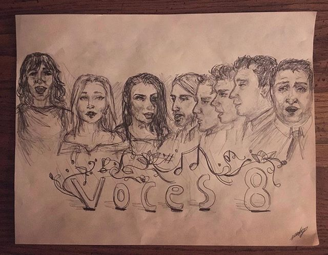 It's not every day that a wonderful young artist says hello after a concert and hands over an awesome sketch like this! Thanks to Leedy Corbin for the super cool drawing of our singing faces #voces8ontour