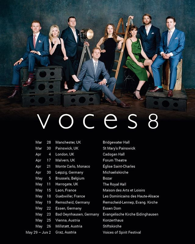 Spring has sprung, and we're looking forward to being in these fabulous places in UK and Europe during the next couple of months. Hope to see you along the way! #voces8ontour