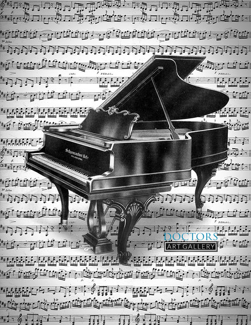 Grand Piano Musical Therapeutic Art Print — Doctors Art Gallery
