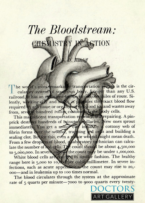 Heart Anatomy Medical Book Art Drawing Original Framed 11x14 ...