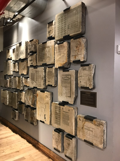 Lithographic stones on display. I bet some of you would love to dig your knife into these babies!
