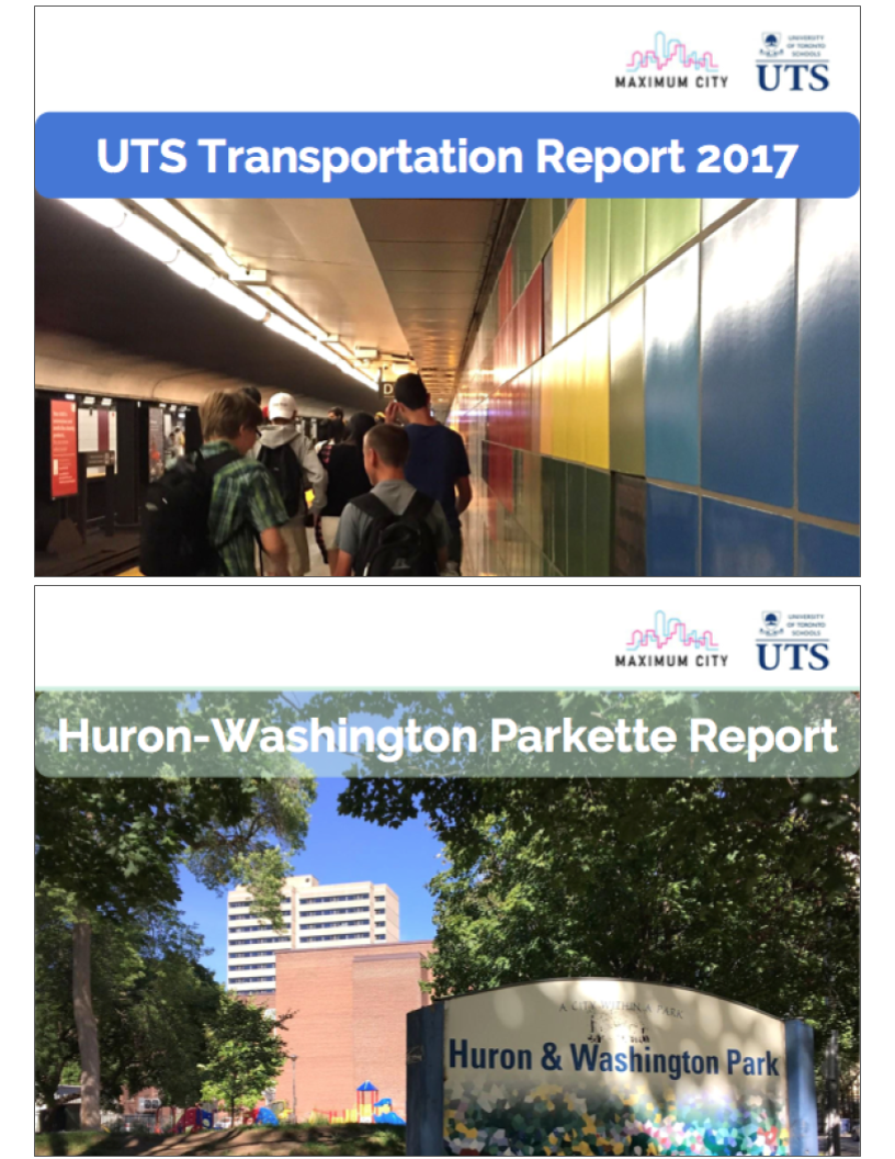 UTS transportation report & parkette Public life study - In 2016, Maximum City was engaged by the University of Toronto Schools (UTS) to conduct a neighbourhood survey & public life study of the Huron-Washington Parkette and a transportation survey of all staff and students. Both projects were part of the broader public consultation and community engagement plan for the UTS building project. The HWP survey and public life study measured how the parkette is currently being used by the surrounding community, and included training for senior UTS student researchers by Park People. The transportation survey measured the commuting habits and motivations of the entire school community, and results of the report were to be used in school discussions with the City, the neighbours, and the University in relationship to traffic, drop off, and parking plans.