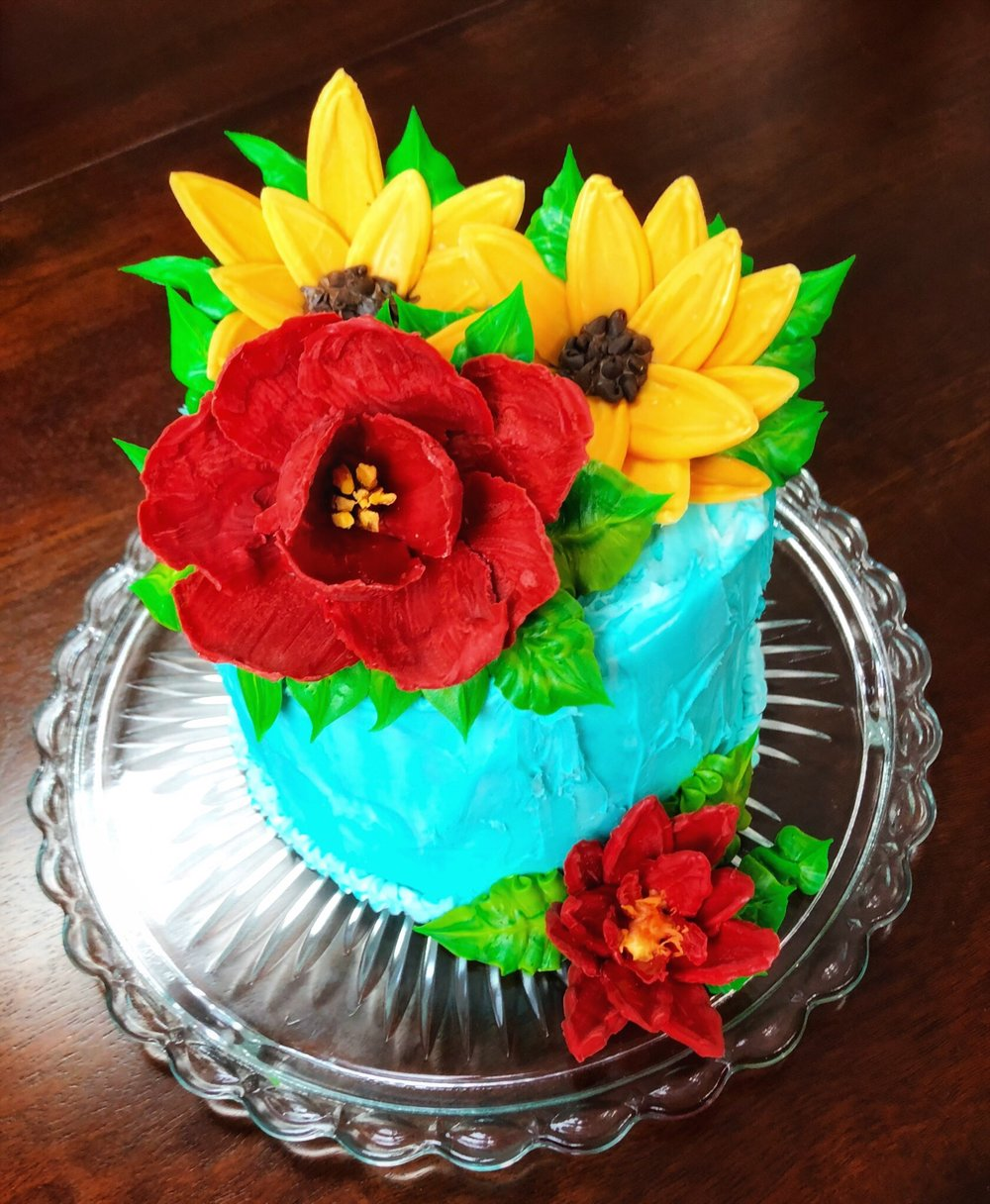 Chocolate Flowers with buttercream leaves