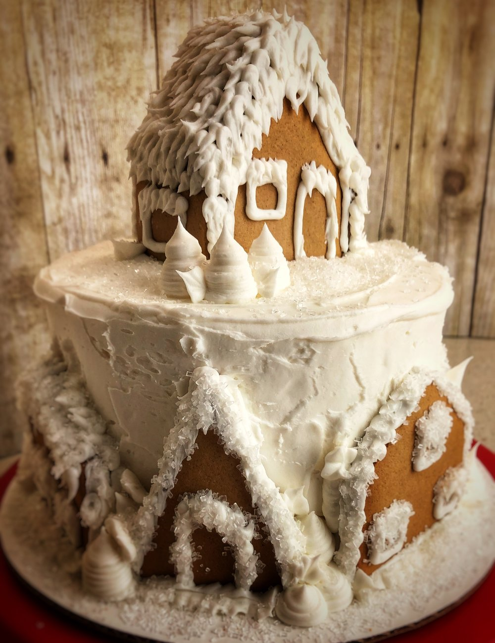 Wintry-white Gingerbread House Cake