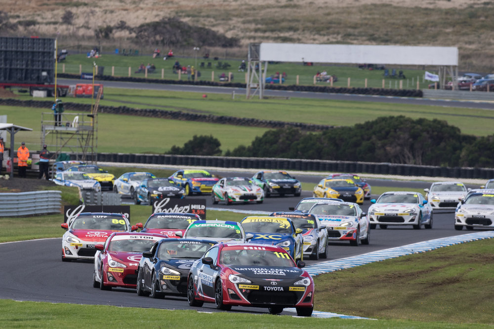Cameron Hill charged through the Toyota 86 field on Sunday at Phillip Island.