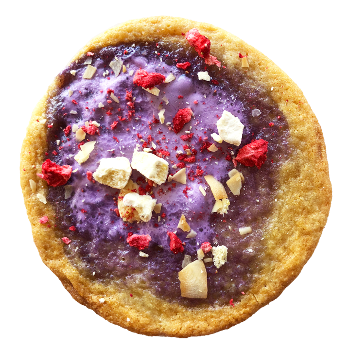Halo Halo - coconut cookie topped with gooey ube marshmallow, crispy rice, freeze dried bananas, strawberry and pineapple?! yes please!