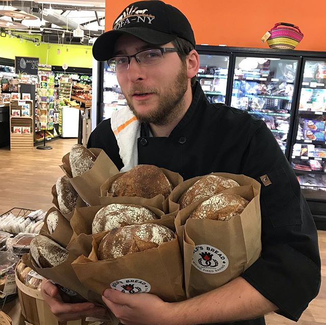 My favorite part of the day! Whole grain sourdough bread with house ground  organic whole wheat and rye and wood fired bagels all at the EA coop today while it lasts. #ryan #woodfiredbaking #eastaurorany #eastauroracoop