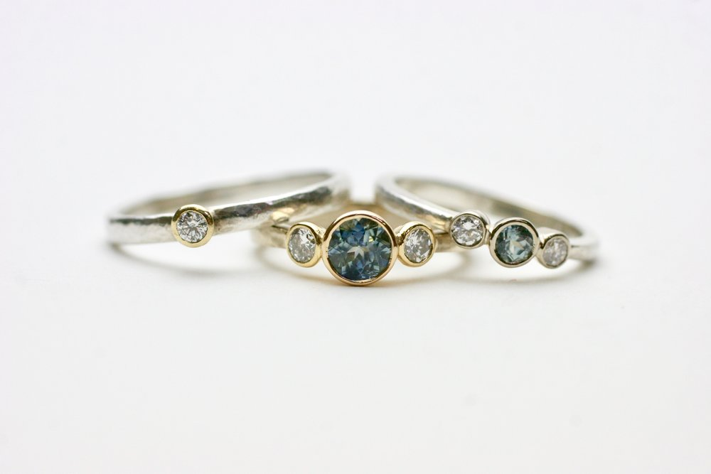 Ethical teal malawi sapphire and diamond engagement ring by Glasswing Jewellery