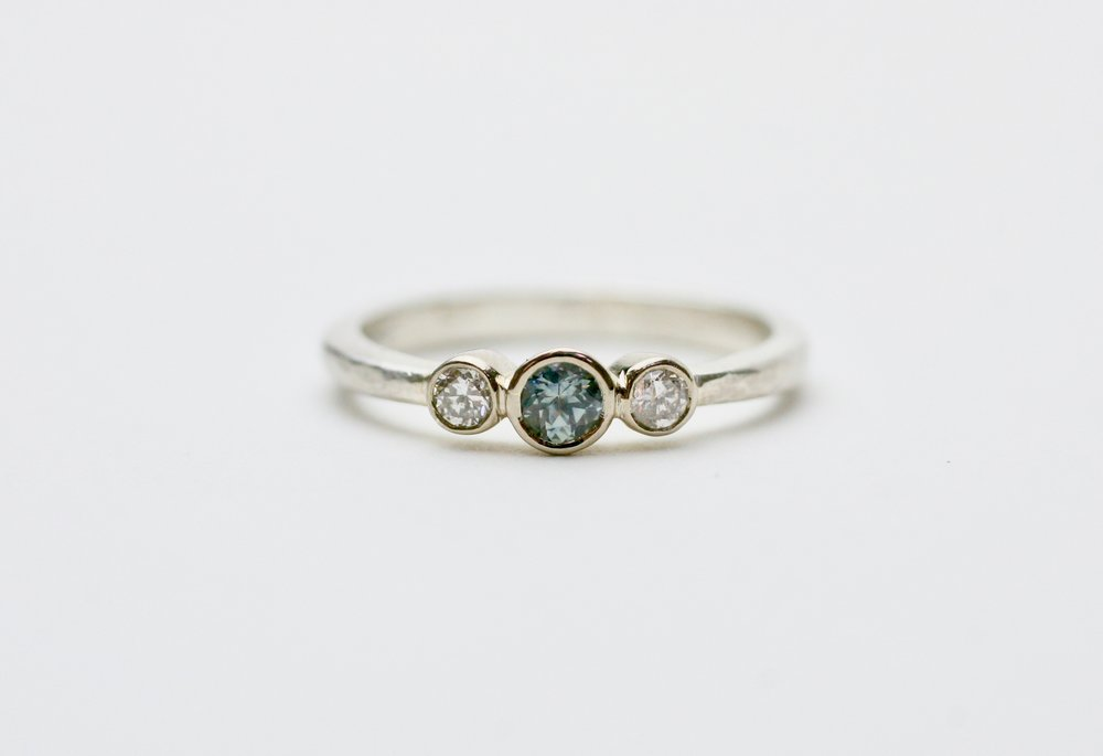 dainty teal ethical sapphire and diamond triple ring.jpg