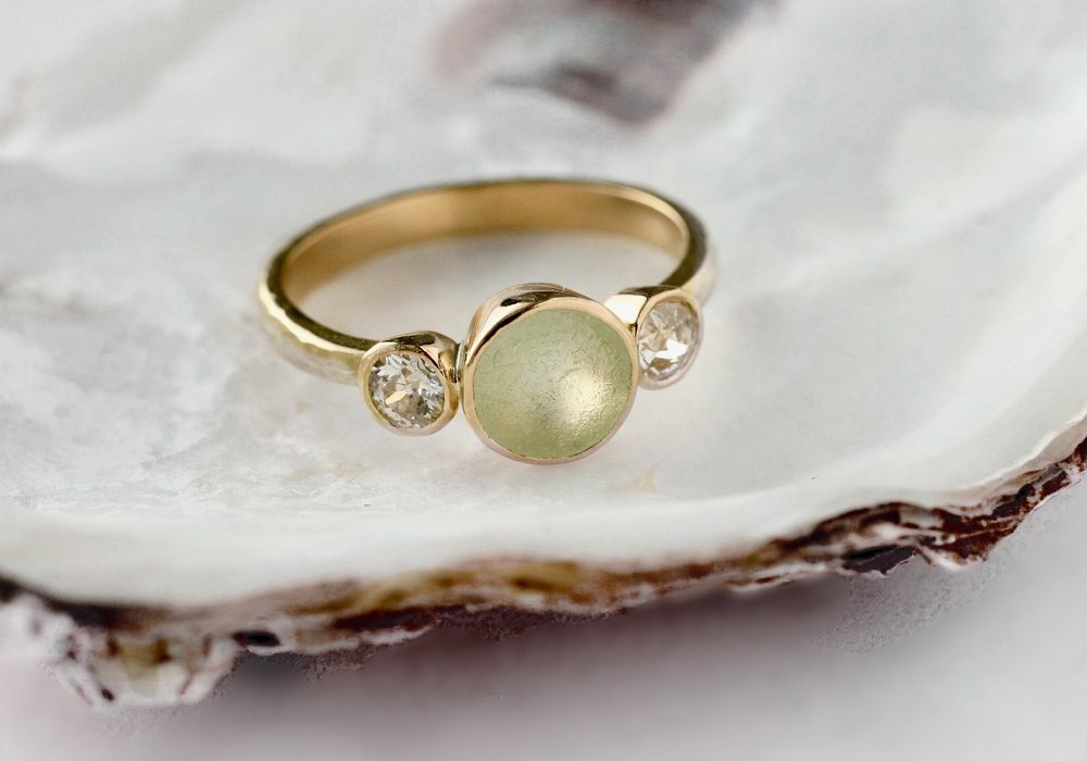 Sewaglas ring with heirloom gold and diamonds