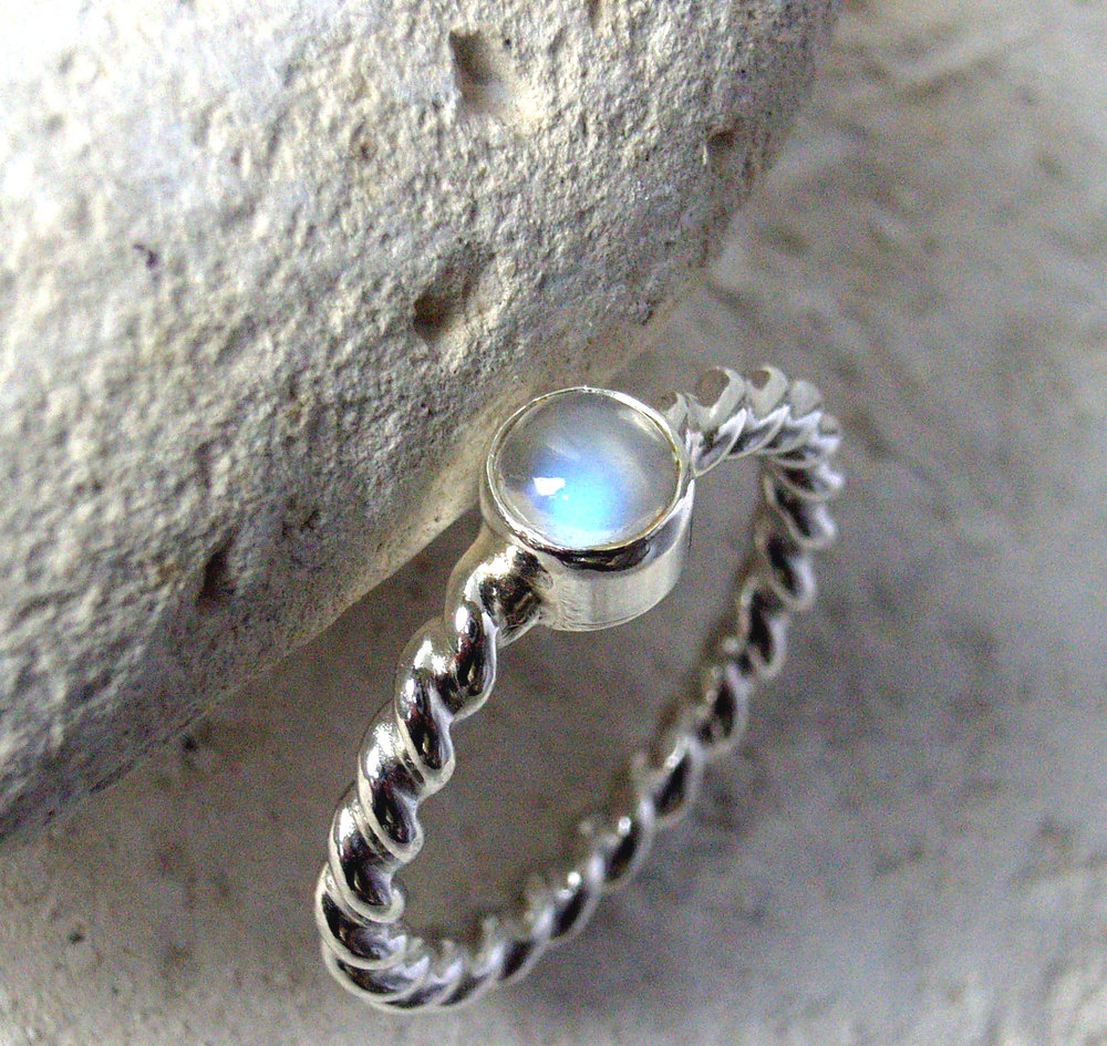 Glasswing ethical moonstone Juliette twisted shank ring