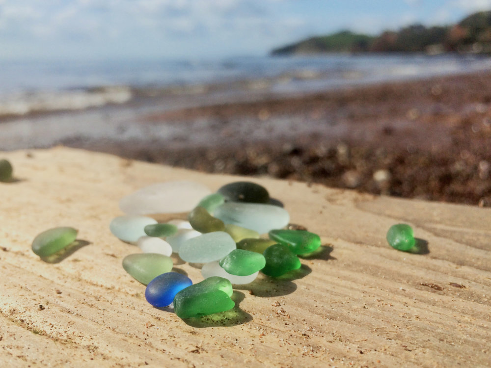 Blue sea glass is a rare find.... -