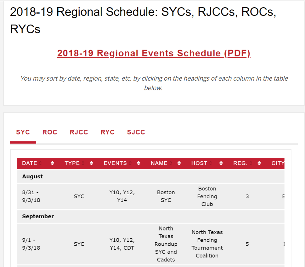 Screenshot of US Fencing Regional Calendar 2018/2019