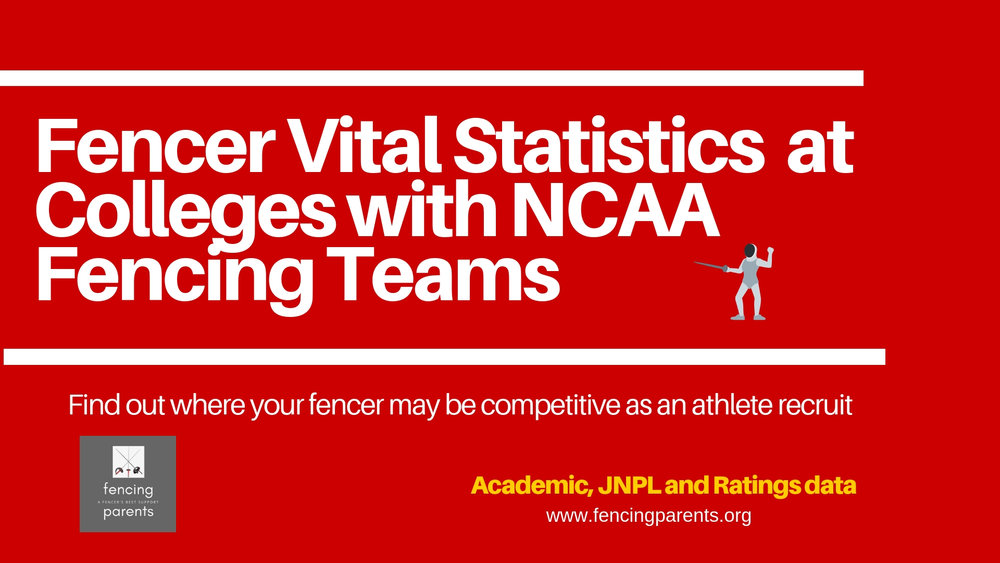 Fencer Vital Statistics at Colleges with NCAA Fencing Teams