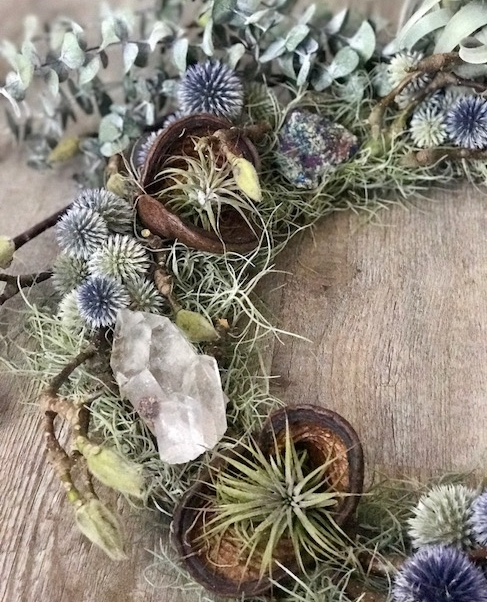 Crystal, Blue Thistle, Moss, Small Airplants