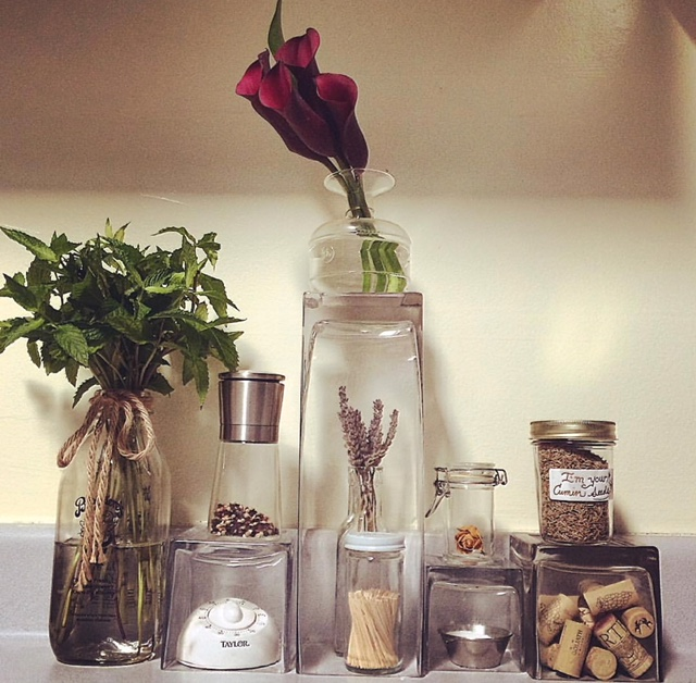 Mint in Recycled Milk Bottle, Calla Lilies, Dried Lavender, Dried Spray Rose, Cumin Seeds, Square Glass Vases