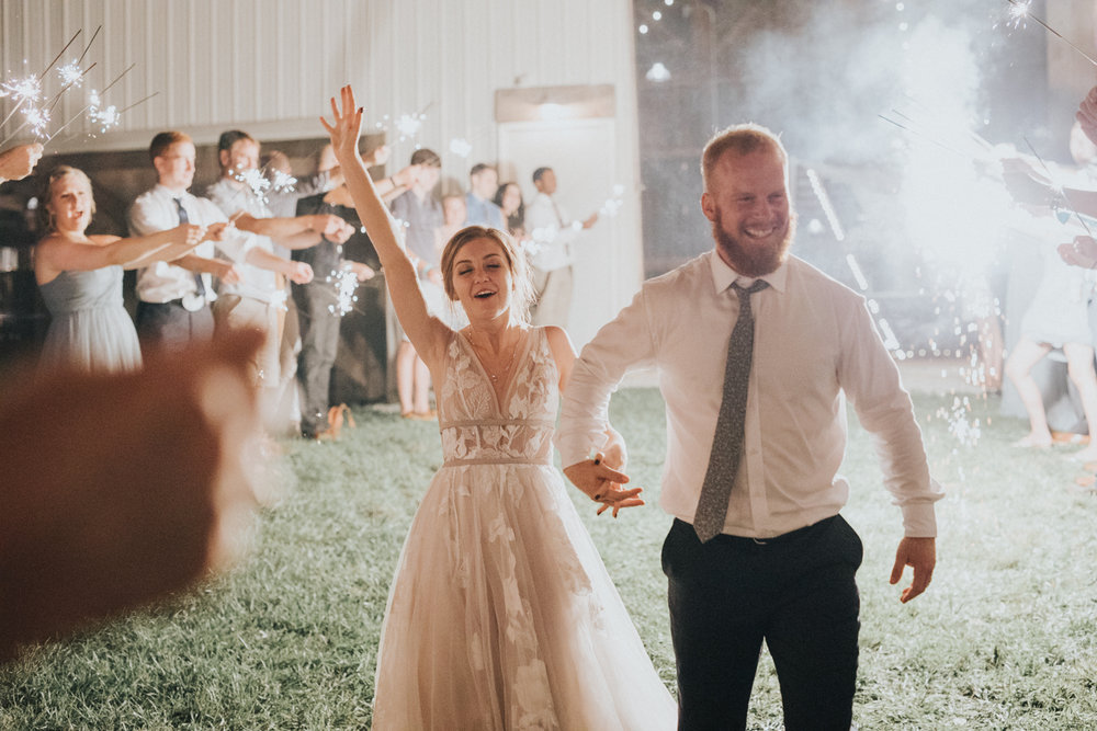 burning the midnight oil - If you'll have us, we will be partying with you until the party ends. Send off or not, we got you. Tyler and Bailey had an awesome sparkler exit.